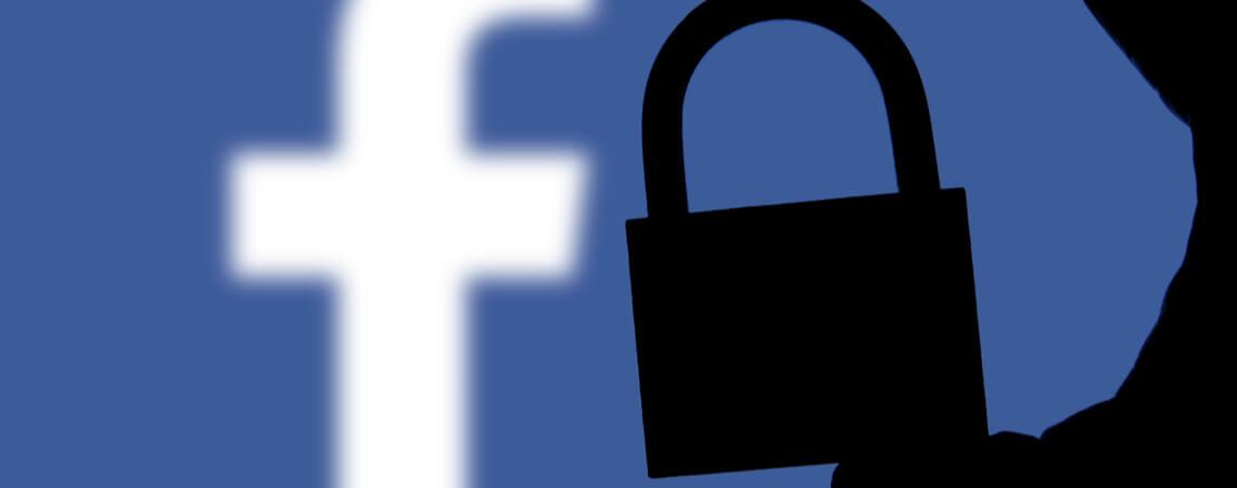 Facebook-Logo mit Schloss