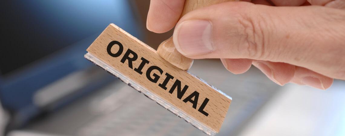 Original auf Stempel
