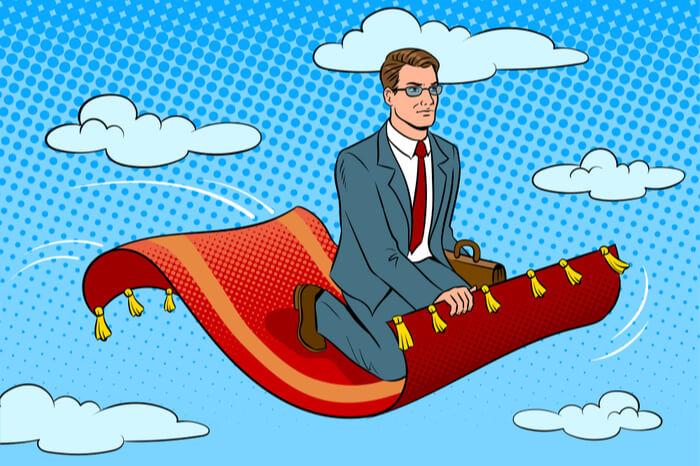 Geschäftsmann auf fliegendem Teppich