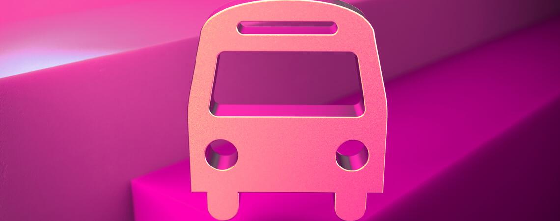 Bus Icon vor magentafarbenem Hintergrund
