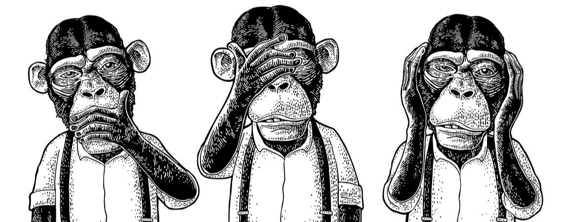 Drei weise Affen mit Hand auf Ohren, Augen, Mund