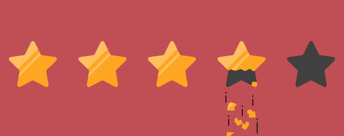 Vier von fünf Sternen Kundenbewertungen mit einem davon zerbrochen