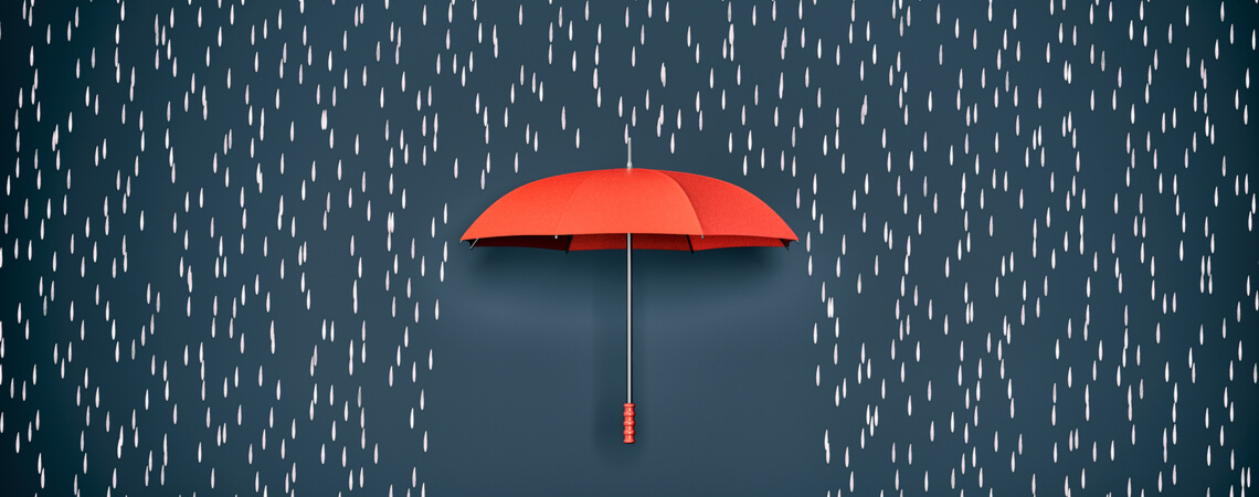 Regenschirm, Konzept des Schutzes