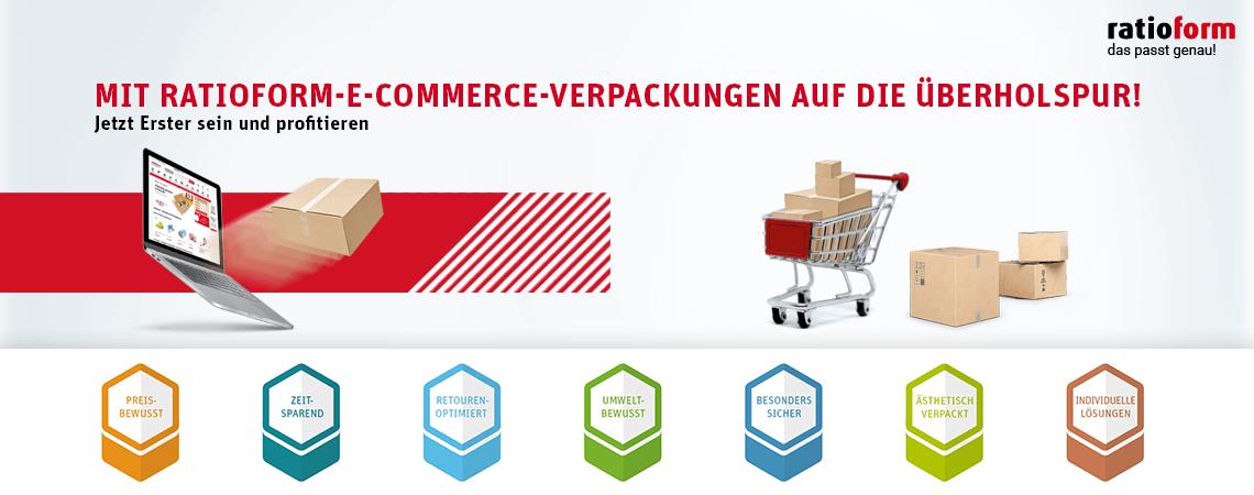 Mit ratioform-E-Commerce-Verpackungen auf die Überholspur! Jetzt Erster sein und profitieren.