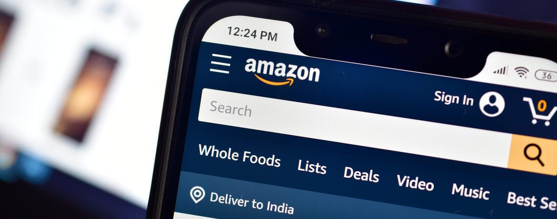 Amazon Webseite auf Handy
