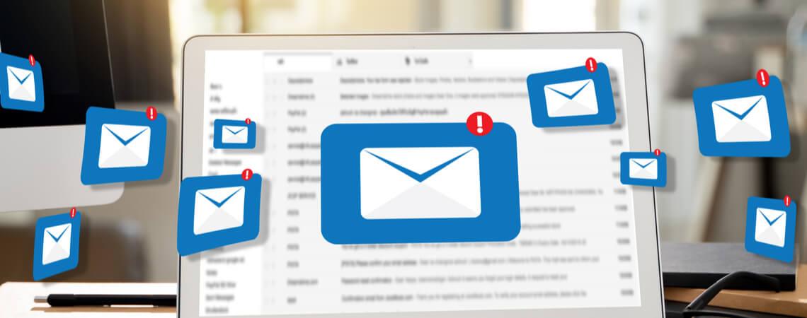 Benachrichtigung für E-Mail auf Laptop