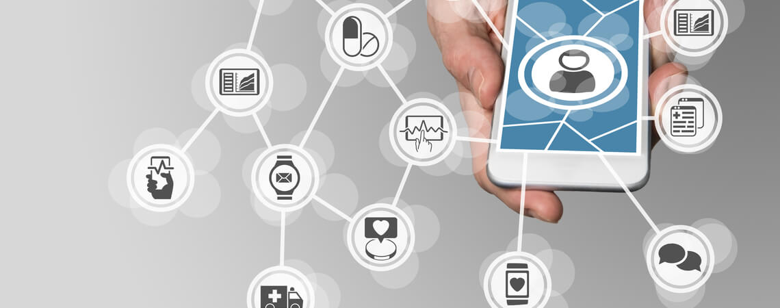 Smartphone mit Medizin-Symbolen