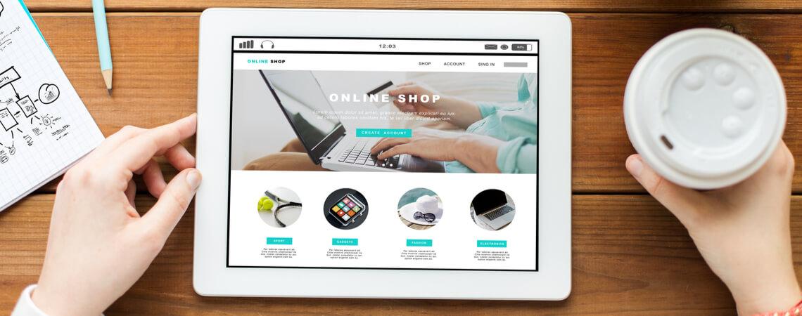 Online-Shop Startseite auf Tablet