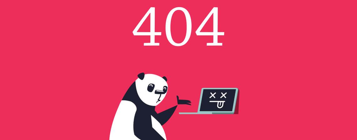 Fehler 404 Seite. Trauriger Panda, der auf einen toten Computer zeigt.