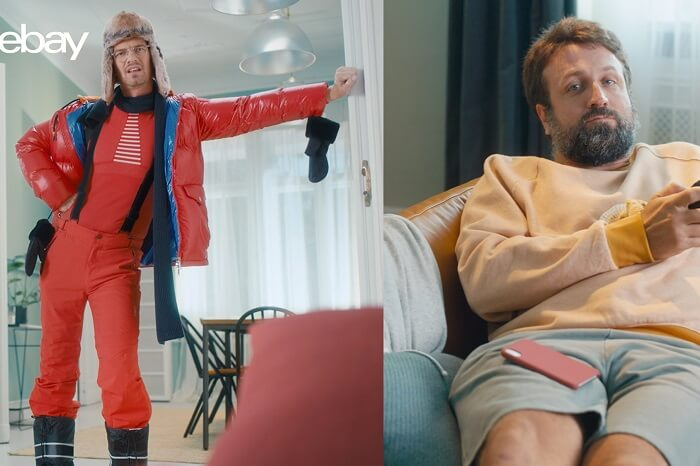 Joko Winterscheidt im Ski-Anzug und Paul Ripke auf dem Sofa