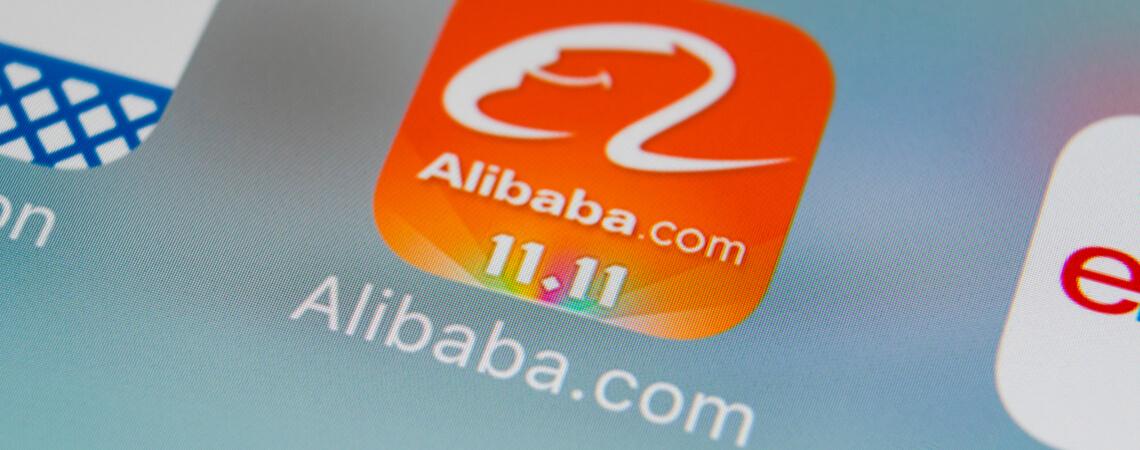 Alibaba-App mit Singles Day Hinweis
