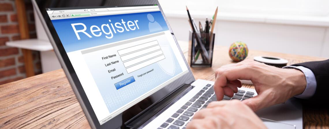 Registrierung auf Laptop