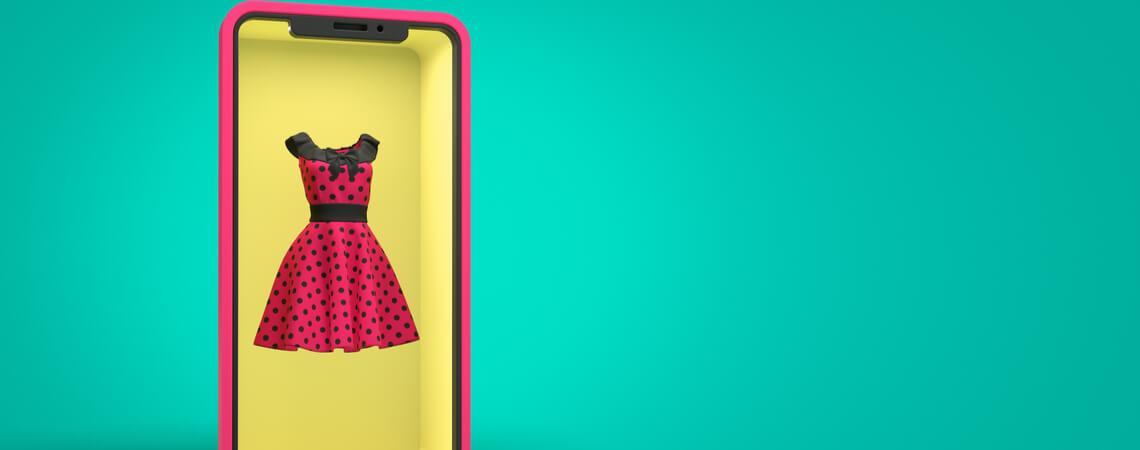 Kleid im Smartphone