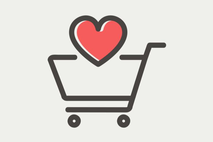 Einkaufswagen mit Herz