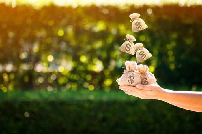 Geldsäcke fallen in Hand