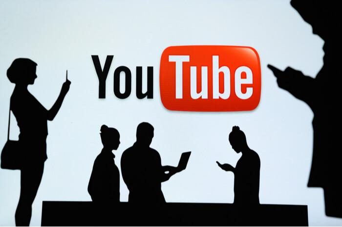 YouTube mit menschlichen Schatten