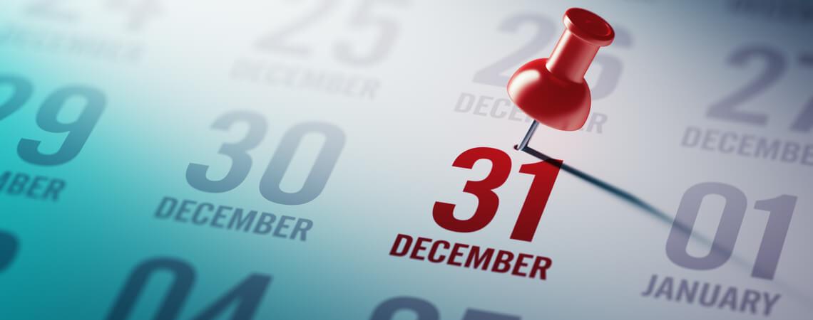 Kalender mit Stichtag 31. Dezember
