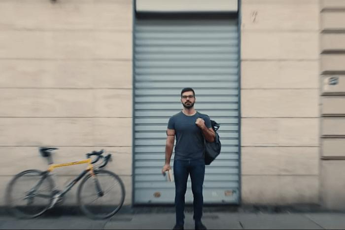 Buchhändler mit Fahrrad