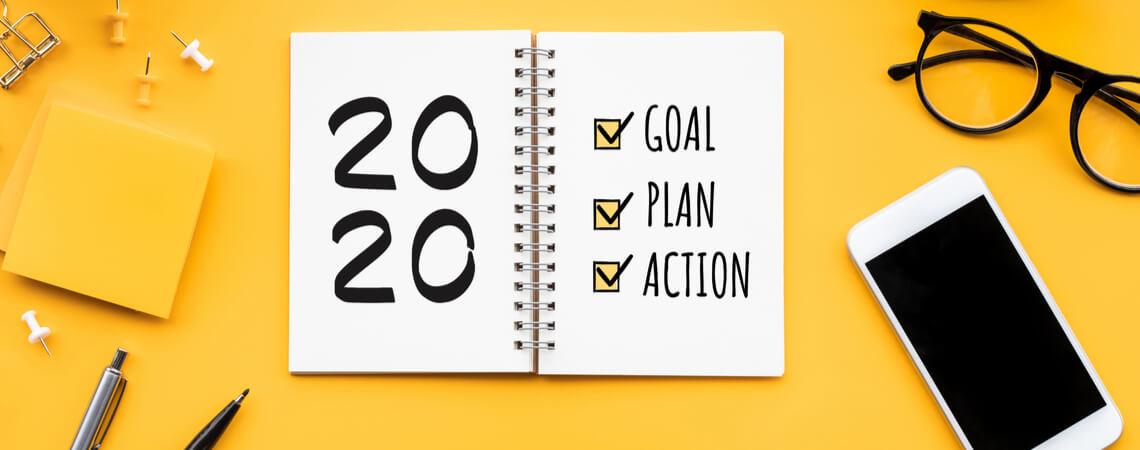 2020 Ziele auf Notizbuch