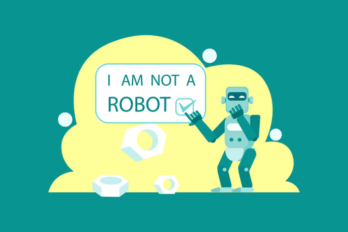 Grinsender Roboter klickt