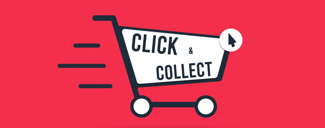 Warenkorb, auf dem Click and Collect steht