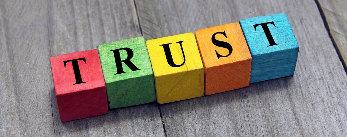 Buchstaben Vertrauen