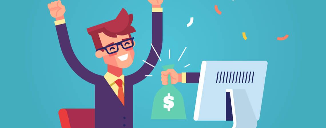 Hand vom Monitor streckt eine Tasche Geld auf einen glücklichen Mann aus