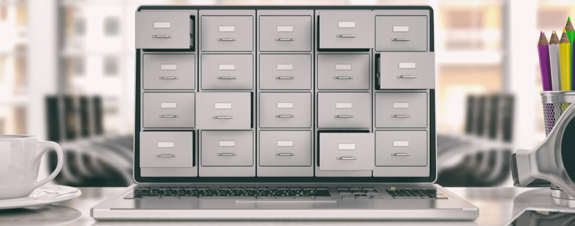 Daten-Register auf Laptop