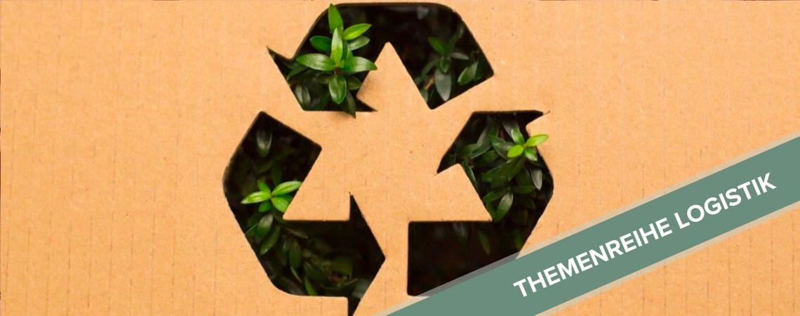 Recycling-Logo auf Kartonpappe