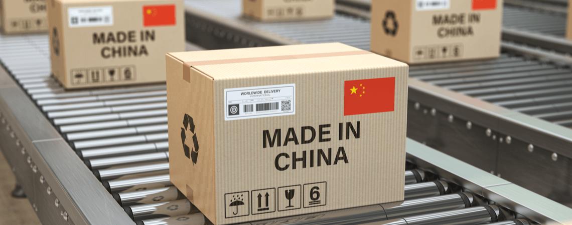 Pakete Aufschrift Made in China