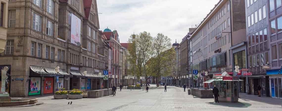 Leere Münchner Innenstadt