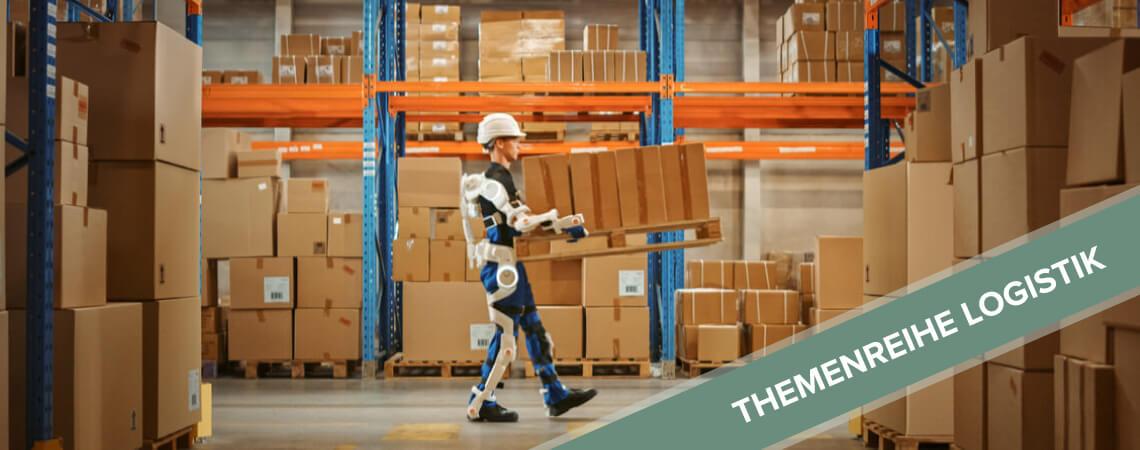 Logistik-Mitarbeiter mit Exoskelett