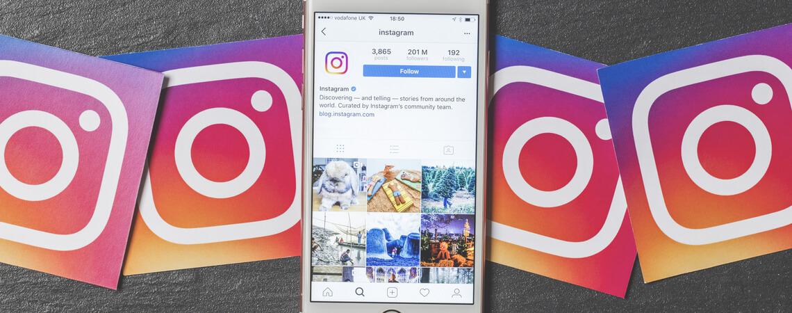 geöffnete Instagram-App auf Smartphone