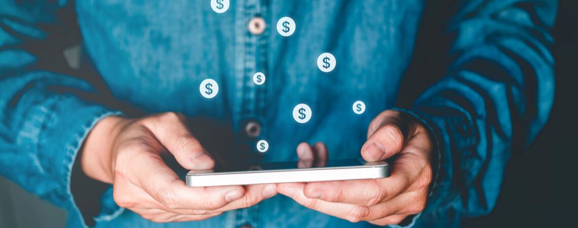 Dollar-Icons über Smartphone