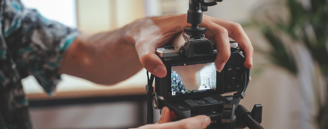 Kamera wird für ein Video-Event aufgebaut