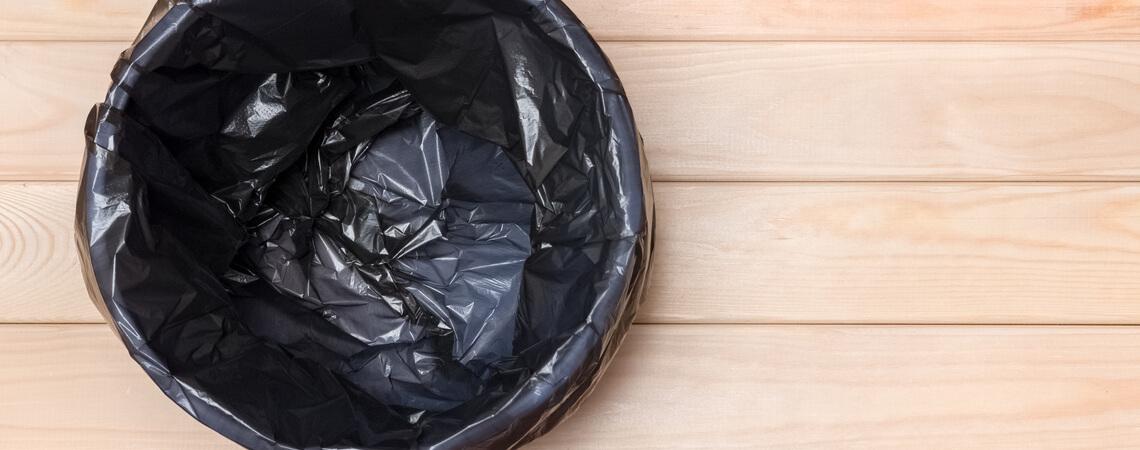 Keine Verpackung in Abfallkorb