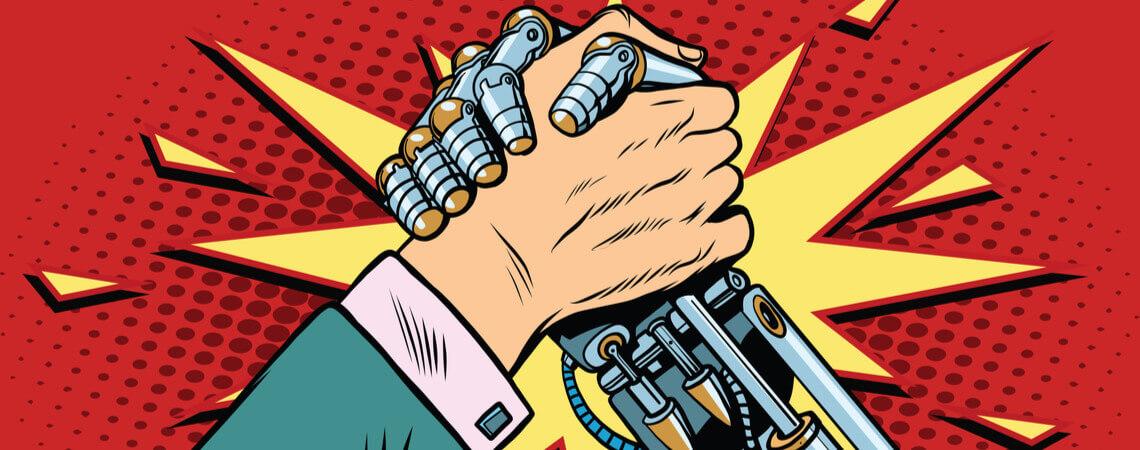 Dream-Team: Mensch und Roboter schlagen die Hände ineinander