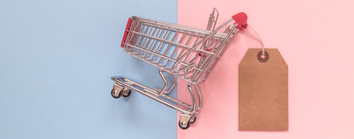 Einkaufswagen mit leerem Preisschild auf pastellfarbenem Hintergrund