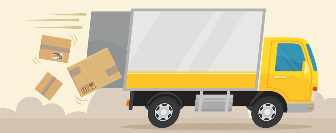 Pakete fallen vom Fahrzeug