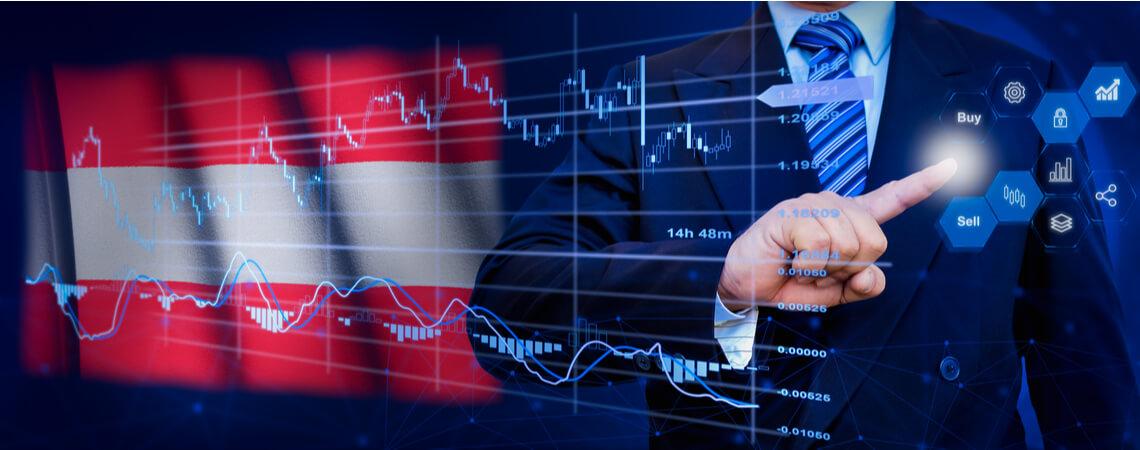 Österreich-Fahne mit Businessman vor Statistikgraph