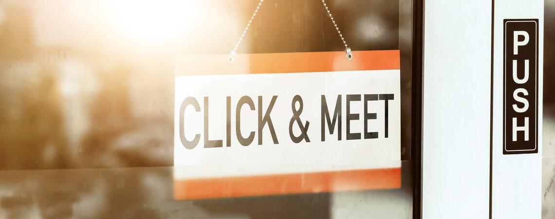 Schild Click & Meet