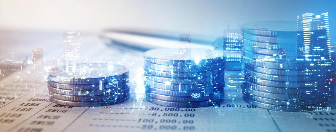 Münzreihen vor Finanz- und Bankkonzept