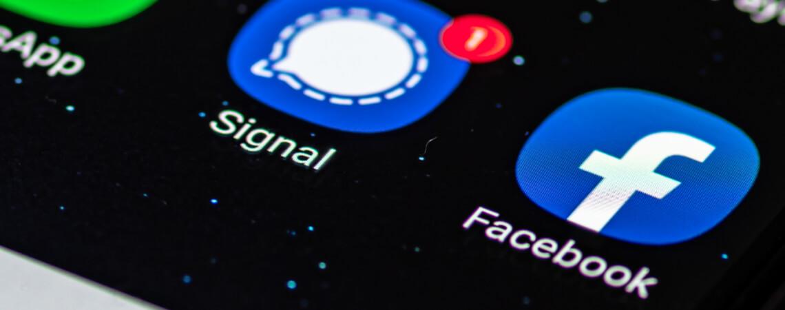 Facebook und Signal Icons