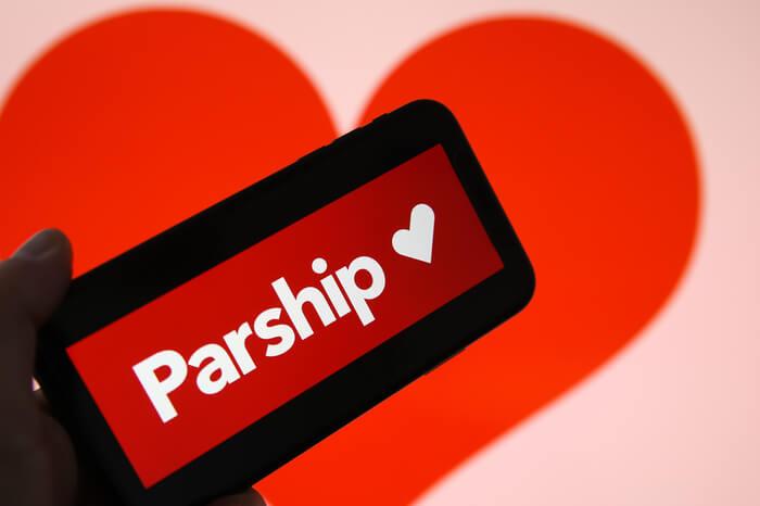 Aufschrift Parship vor Herz