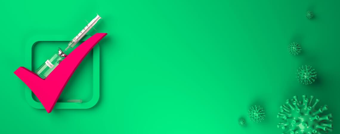 Rotes Häkchen zusammen mit Impfdosis