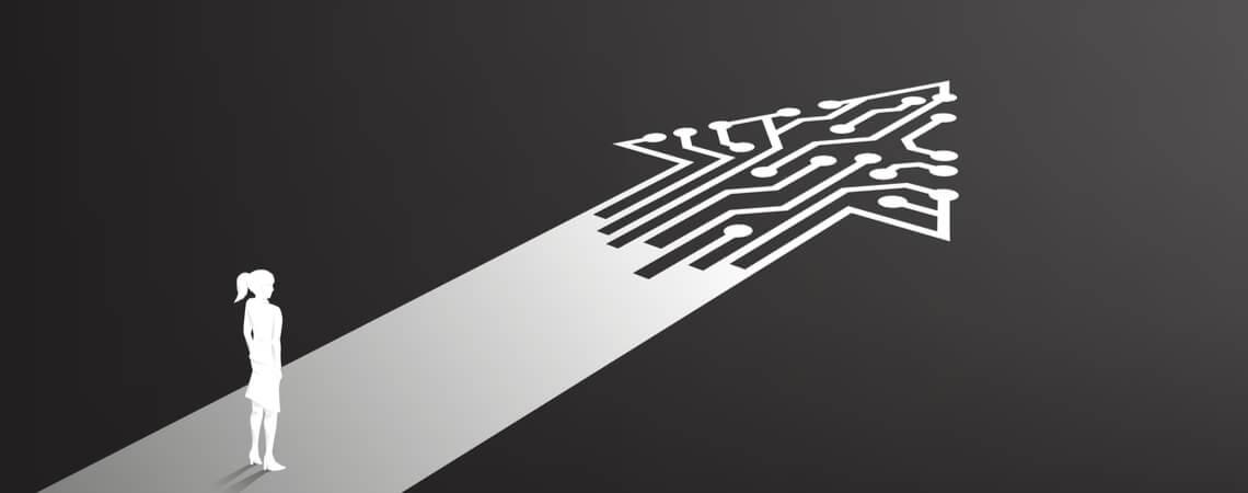 Konzept: Frau vor Pfeil zu digitalen Schaltungen