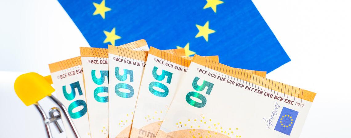 Warenkorb mit Geld vor EU-Flagge