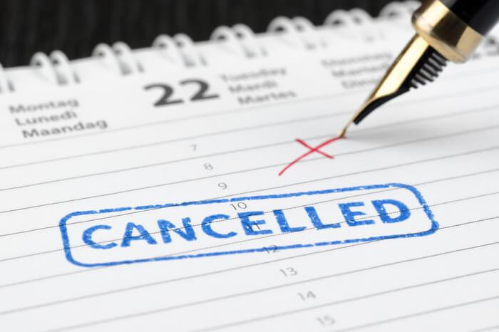 Gestrichener Termin im Kalender