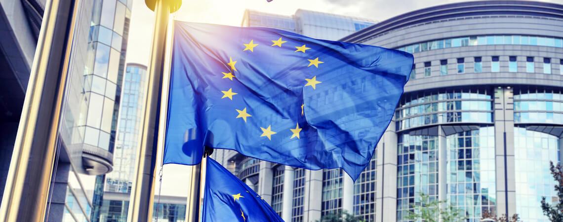 EU-Flaggen, die vor dem Gebäude des Europäischen Parlaments schwenken