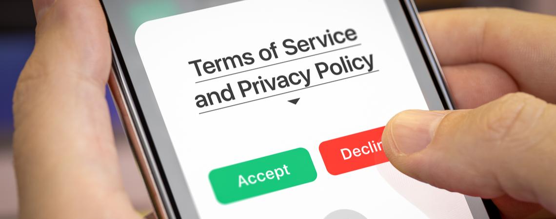 Akzeptanz der Datenschutzbestimmungen auf Smartphone